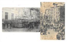 """Ath - Lot De 2 Cartes Postales - Cortège Des Fêtes Communales """"Char D´Albert Et Isabelle/La Navigation - Circulé: 1905/7 - Ath"""