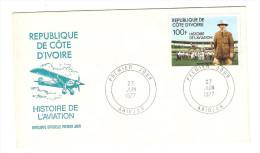 REPUBLIQUE DE COTE D´IVOIRE FDC PREMIER JOUR ABIDJAN 27/6/1977 HISTOIRE DE L´AVIATION ROSS SMITH - Côte D'Ivoire (1960-...)