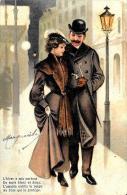[DC2593] CPA - COPPIA DI INNAMORATI A PASSEGGIO - IN RILIEVO - Viaggiata 1904 - Old Postcard - Coppie