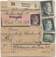 Deutsches Reich Paketkarte Mallenberg(Steierm) 27/3/44 Strafgefängenis Krainburg PR2817 - Deutschland