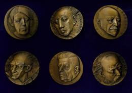 6 MEDAGLIE JOHNSON MILANO - PREMI NOBEL - BRONZO - 5000 ESEMPLARI - MONTALE, DELEDDA, NATTA, GOLGI, BOVET, PIRANDELLO - Italie