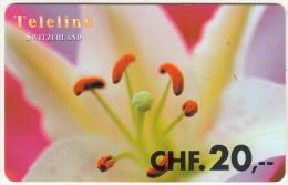 SWITZERLAND - Flower, Teleline Prepaid Card CHF 20, Used - Schweiz