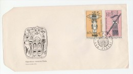 1966 Czechoslovakia FDC Native American Indian  TOMAHAWK TOTAM POLE  ARROWS Stamps Cover Archery - FDC