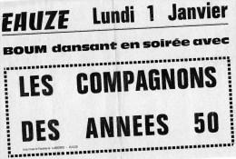 32) EAUZE- BOUM- SOIREE DANSANTE PREMIER DE L'AN  AVEC LES COMPAGNONS DES ANNEES 50 - Musique & Instruments