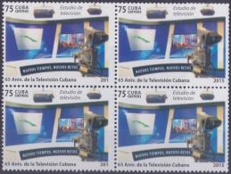 """2015.97 CUBA 2015 MNH 65 ANIV DE LA TELEVISION CUBANA. ERROR """"201"""" & NORMAL """"2015"""" BLOCK 4. 4 FOR SHEET. - Cuba"""