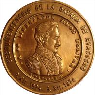 VENEZUELA. MEDALLA OFICIAL DEL SESQUICENTENARIO DE LA BATALLA DE AYACUCHO. 1.974. COBRE - Royal / Of Nobility