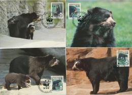 Bolivien 1991 WWF Naturschutz Brillenbär Maximumkarten 1137/40 MK (X11693) - Bolivien