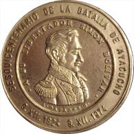 VENEZUELA. MEDALLA OFICIAL DEL SESQUICENTENARIO DE LA BATALLA DE AYACUCHO. 1.974. PLATEADA - Monarquía / Nobleza