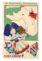 Les Provinces Françaises: Alsace-Lorraine, Cigogne, Strasbourg, Alsacienne Avec Kouglof Et Chope De Biere (16-579) - Géographie