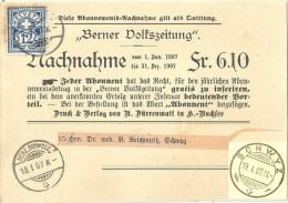 """NN """"Berner Volkszeitung, Herzogenbuchsee"""" - Schwyz            1907 - Gebraucht"""