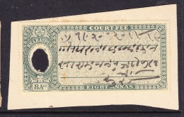 India Bharatpur - 8a Court Fee - Green On Paper - India