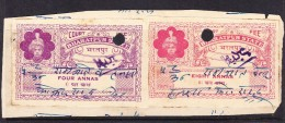 India Bharatpur -  Court Fee -  4a Purple And 8a Carmine - On Paper - India