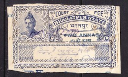 India Bharatpur -  Court Fee -  2A Blue - On Paper - India