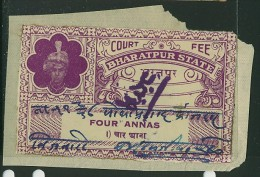 India Bharatpur -  Court Fee -  4a Purple - On Paper - India