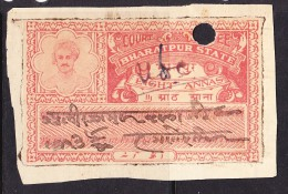 India Bharatpur -  Court Fee -  8a Vermillion- On Paper - India