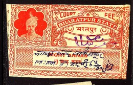 India Bharatpur -  Court Fee -  8a Vermillion-Part2  On Paper - India