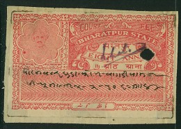India Bharatpur -  Court Fee -  8a Scarlet   On Paper - India
