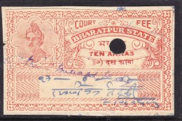 India Bharatpur -  Court Fee -  10a Dark Red  On Paper - India