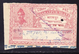 India Bharatpur -  Court Fee -  10a Dark Red Part 2 On Paper - India