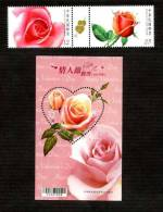 Taiwan 2012 Valentine Day Stamps & S/s Love Heart Rose Flower Arrow Scented Ink Gutter Pair Unusual