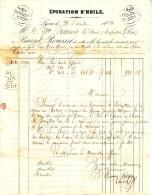 RHONE - LYON - BASSET-ROUSSET - EPURATION D'HUILE 16 RUE MULLET - TIMBRE EMIRE NON DENTELE DU 22-12-1854. - 1900 – 1949