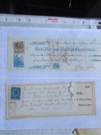 1875 N.2 Assegni Con Marche Fiscali STATI UNITI D'AMERICA Fisrt National Bank E Kent National Bank Chetsertown - Azioni & Titoli