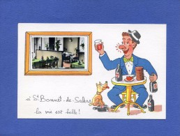 Humour - Ivrogne Et Son Chien à Une Table De Bistrot - Vin - Alcool - Humour