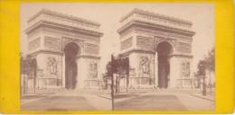 Vieille Photo Stereoscopique Paris Vers 1870 Arc De L Etoile De Triomphe Plan Plus Grand - Stereoscopic