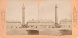 Vieille Photo Stereoscopique Paris Et Ses Environs Colonne Vendome Vers 1870 - Stereoscopic