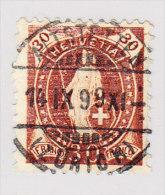 Heimat ZH ALTSTETTEN 14.9.1899 Vollstempel Auf 30Rp Stehende Helvetia #68D - 1882-1906 Wappen, Stehende Helvetia & UPU