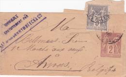 ENTIER SAGE 2c + 3c En Complt Affranchissement Sur Bande TARIF IMPRIMÉ ETRANGER > Anvers BELGIQUE - Postmark Collection (Covers)