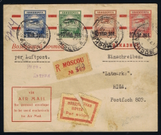Russia 1929 - Registered Airmail Cover Moscow To Riga Lettland With Michel 267/270 - 1923-1991 USSR