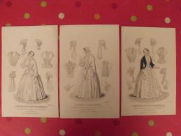 """3 Gravures De Mode De 1852. Supplément à """" Le Conseiller Des Dames Et Des Demoiselles"""" - Unclassified"""