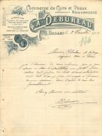 FACTURE Thème Cuir ,tannerie , Corroirie A. DEBUREAU à Cholet   1903 - France