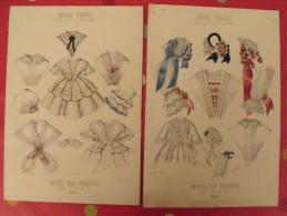 """2 Gravures De Mode Aquarellées Vers 1850. Supplément à """"le Musée Des Familles"""". Modes Vraies - Old Paper"""