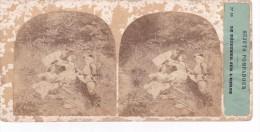 Vieille Photo Stereoscopique Sujets Pompadour Scene Dejeuner Sur Herbe Militaire Courtisant Jeunes Dames Baiser Et Vin - Stereoscopic