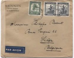 Belgisch Congo BeleTP 254 244A(2) S/L.Avion C.Elisabethville 24/4/1945 Censure 12 Congo Belge V.Liège PR2826 - Congo Belge