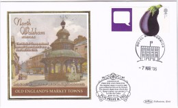 2006 Norwich GB FDC AUBERGINE Stamps SPECIAL  SILK Illus NORTH WALSHAM MARKET CROSS Food Fruit - Vegetables