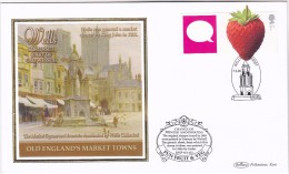 2006 Wells GB FDC STRAWBERRY Fruit SPECIAL  SILK Illus WELLS CATHEDRAL MARKET SQUARE  Church Cover Stamps Religion - Fruits