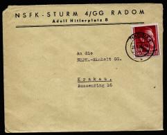 A3805) Generalgouvernement Brief Von Radom 28.9.43 Mit Seltenem Absender - 1939-44: 2. WK