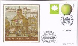 2006 Stratford Upon Avon GB FDC APPLE Fruit SPECIAL SILK Illus STRATFORD MARKET HALL Cover Stamps - Fruits