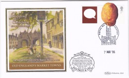 2006 Gloucester GB FDC POTATO Veg SPECIAL SILK Illus CHIPPING CAMPDEN MARKET HALL Cover Stamps  Food - Vegetables