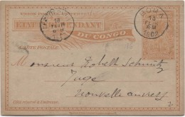 Belgisch Congo Belge Entier CP 15 C En Service Intérieur Boma 13/2/1902 V. Nouvel Anvers C.d'arrivée Léo  PR2830 - Entiers Postaux