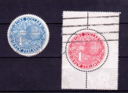 New Zealand 1988 Kiwi $1 Blue And $1 Red With Margins. Good Used (2813) - Used Stamps