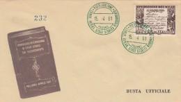 Italia Rep. 1961 -   FDC  Centenario Della Spedizione Dei Mille  Con Due Annulli Speciali Verde 15.4.61 - F.D.C.