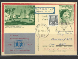 ÖSTERREICH - Ballonpostflug SOS-Kinderdörfer Kremsmünster 13.8.1976 Bildpostkarte Altmünster - Par Ballon