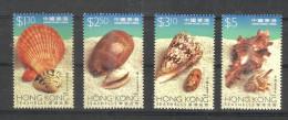 HONG KONG,  HONGKONG, 1997, Sea Shells, Marine Life, Seashell,  Seashells, Set 4 V,   MNH, (**) - Hong Kong (...-1997)