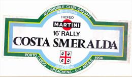 ADESIVO - STICKER - 16° RALLY COSTA SMERALDA - Altri
