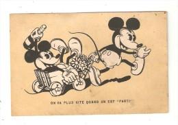 """CPA DISNEY Mickey Tractant Minnie - Avec Une Bouteille -dans Une Charette  """" On Va Plus Vite Quand On Est Parti"""" 1933 - Disney"""