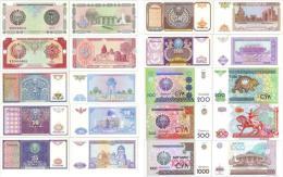 UZBEKISTAN Complete Set 1994-2001 (10v) 1 3 5 10 25 50 100 200 500 1000 Sum  *UNC* - Uzbekistan